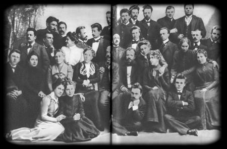 Группа артистов Художественного театра. 1898 г. М. Ф. Андреева по втором ряду между М. П. Лилиной и Вл. И. Немировичем-Данченко.