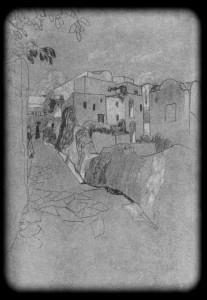 Капри. Улица. Набросок академика живописи Г. М. Бобровского. 1912 г.